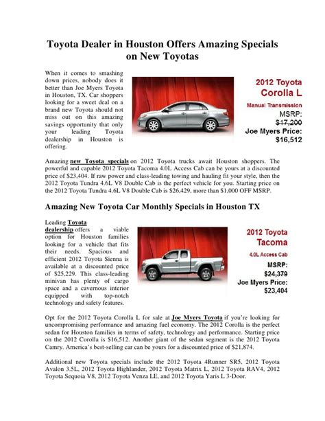 Toyota Houston Dealers by Toyota Dealer In Houston Offers Amazing Specials On New