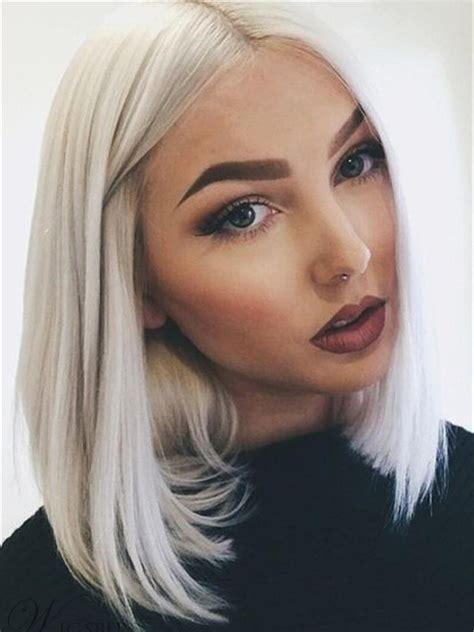Lace Front Shoulder Length White Blonde Bob Cut Wig Middle