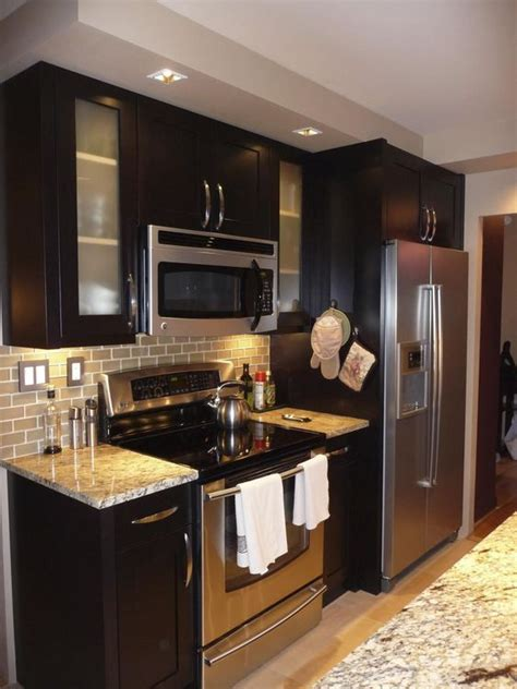 espresso cabinets  stainless steel appliances