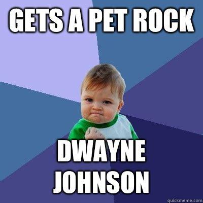 Pet Rock Meme - gets a pet rock dwayne johnson success kid quickmeme