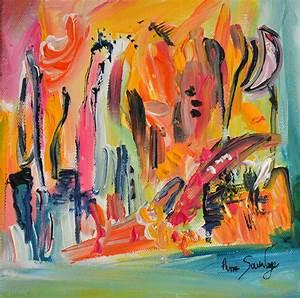 Tableau Peinture Sur Toile : tableau abstrait contemporain multicolore pas cher don de vie ~ Teatrodelosmanantiales.com Idées de Décoration