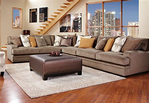 cindy crawford fontaine brown 4pc sectional living room