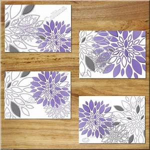Kitchen 5 purple large piece floral canvas wall art for Kitchen cabinets lowes with canvas wall art purple flowers