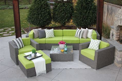 wicker sectional patio furniture 8pc gray wicker modern rattan patio set outdoor sectional