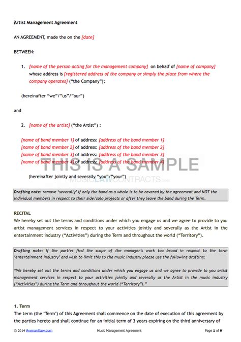 artist management contract template