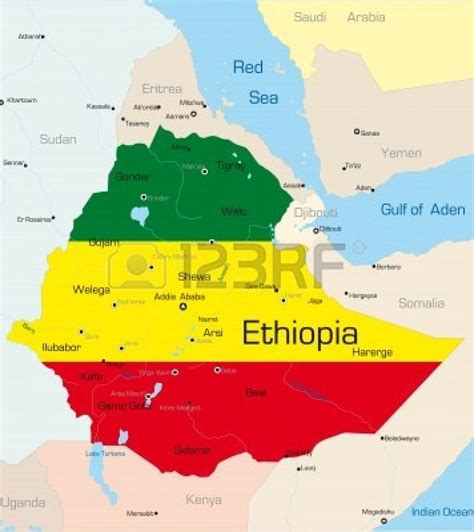 abstract vector color map  ethiopia country colored
