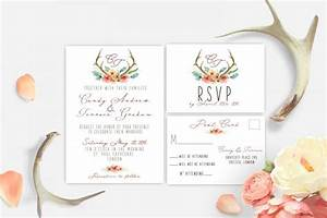 printable wedding invitation antler watercolor woodland With free printable woodland wedding invitations