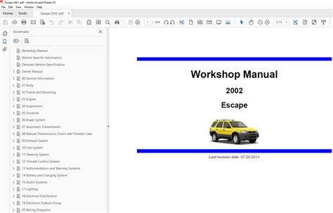 book repair manual 2002 ford escape security system ford escape 2000 2003 factory repair manual