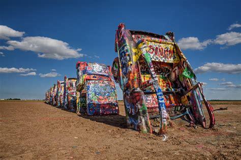 cadillac ranch  route   texas editorial photo