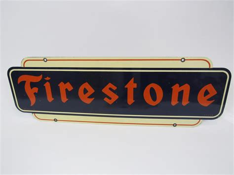 Cards issued by halfords ltd. 1951 Firestone Tires double-sided tin automotive garage sign. - 202806