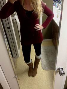 Red Sweater Brown Boots - Aztec Sweater Dress