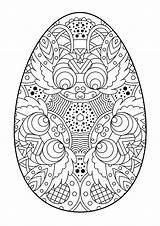 Easter Egg Coloring Eggs Pages Zentangle Vector Print Pattern Printable Sheets Decorative Illustration Intricate Colouring Mandala Detailed Christmas Zwart Wit sketch template