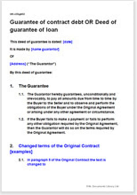 Personal Guarantee Template Uk by Deed Of Guarantee Of Contract Debt With Option For Changed