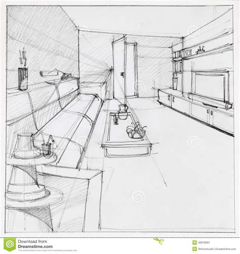 coloriage de chambre de fille drawing of interior living room stock illustration