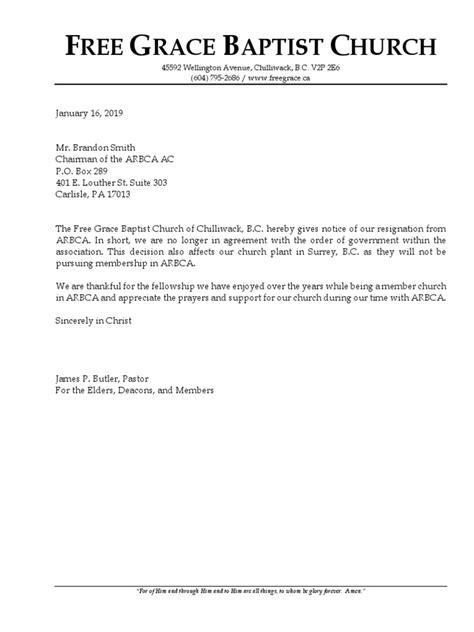Resignation of Free GBC, Canada 16jan2019