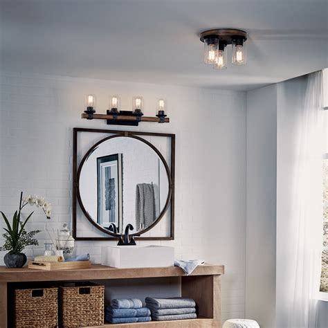 barrington  light flush mount distressed black wood