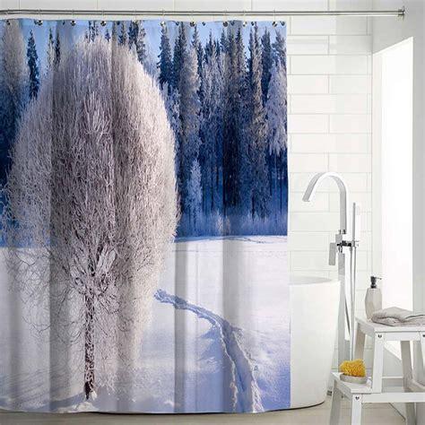 modern aesthetic shower curtain  lifelike landscape