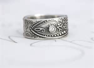 custom wedding band to fit engagement ring wide paisley wedding band with sapphire unique engagement ring bohemian paisley white