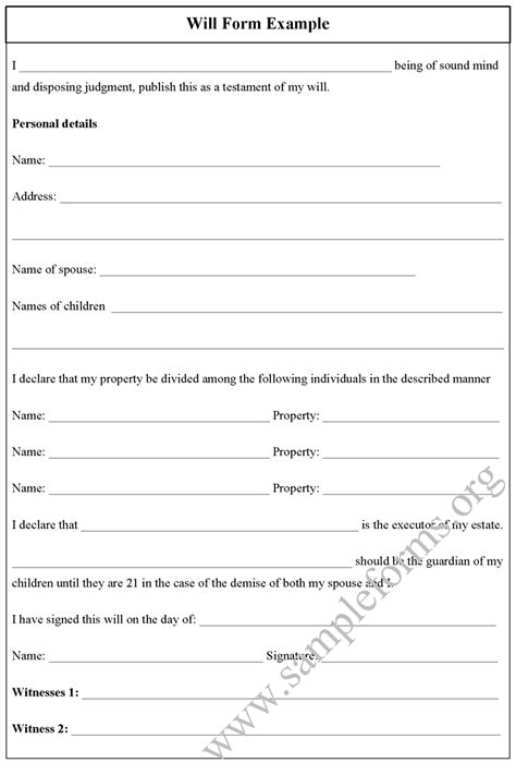Will Template Doc by Will Form Exle Sle Forms