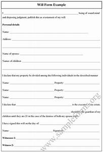 will form example sample forms With will template doc