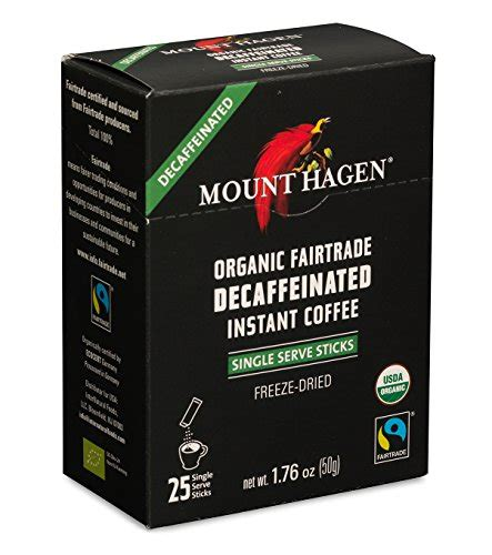 Items include organic freeze dried instant coffee, single serve instant coffee sticks regular, instant decaffeinated if asking a question on merchandise, please give as much information as possible. Mount Hagen Organic Decaffeinated Instant Coffee Single Serve 25 Sticks (Pack of 2) by Mount ...