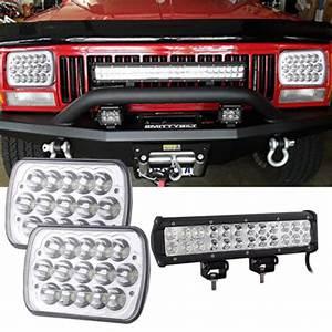12 U0026 39  U0026 39  Led Work Light Bar   7x6 Headlights Bumper For Jeep Cherokee Xj Yj 86