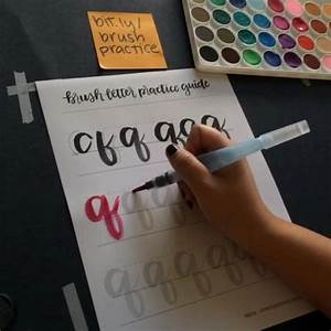 A page from the brush letter practice guide in action at for Brush lettering pens michaels