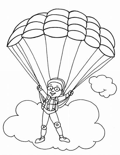 Parachute Coloring Clipart Paratrooper Clip Parachuting Drawings