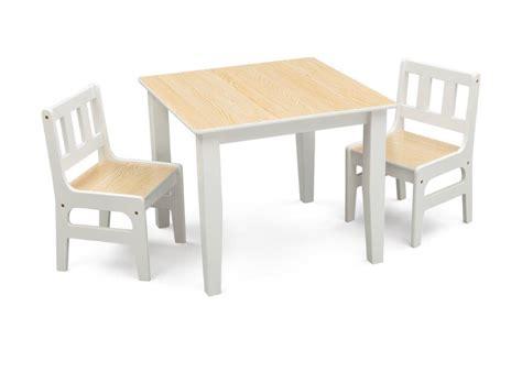 Tavolino E 2 Sedie In Legno Per Bambini Beige E Bianco