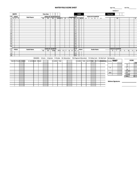water polo score sheet printable