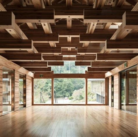 wood flooring on ceiling maze like wood ceiling hardwood flooring to match glass partitions all applied in art studio