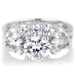 cz wedding ring sets sterling silver 3 wedding ring set