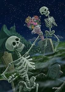 Romantic Valentine Skeletons In Graveyard Painting by ...