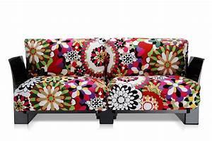 pop missoni sofa canape design kartell a 2 ou 3 places With tapis design avec kartell canapé
