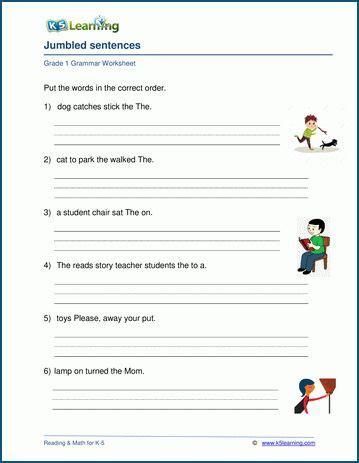 grade  sentences worksheets  learning