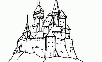 Castillo Cima Colorear Lo Loma Alto Dibujo