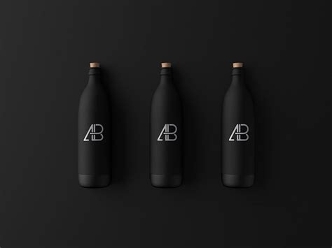 Psd mockup id 23506 in bottle mockups 13 0 0. Free Matte Black Bottle Mockup | Mockuptree