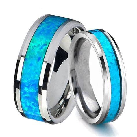 queenwish 6mm 8mm vintage opal tungsten carbide rings infinity mens wedding bands silver women