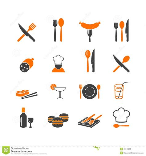 Stock Vector: Restaurant menu kitchenware icons button ...