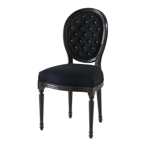 chaise medallion en lin noir cloute louischaise medaillon noir xxcm maisons du monde