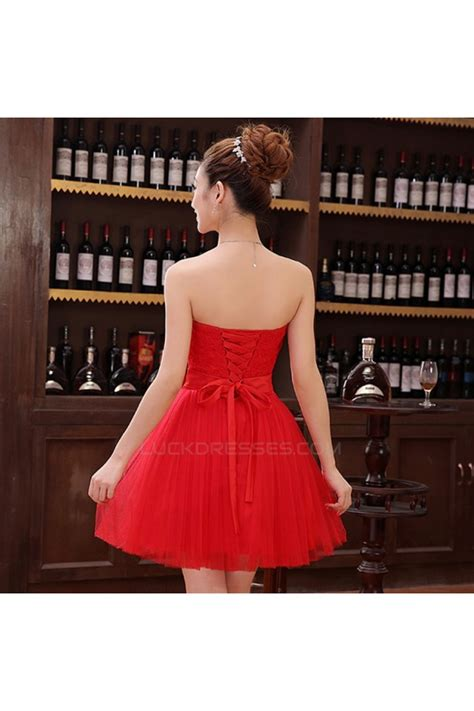 A-Line Strapless Short Red Tulle and Lace Bridesmaid ...
