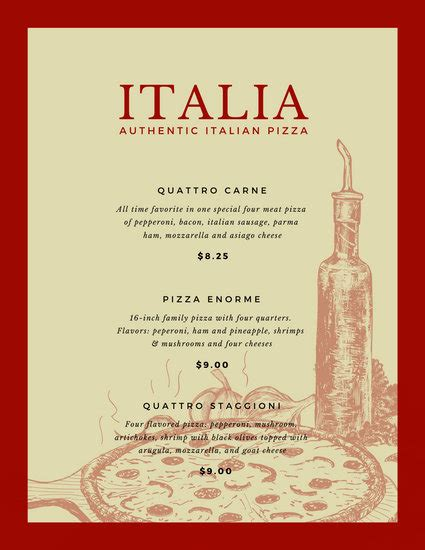 customize  italian menu templates  canva