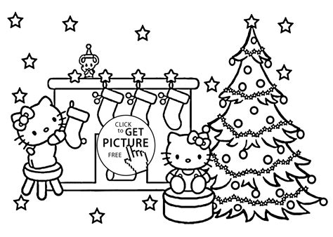 Christmas Hello Kitty Coloring Pages For Kids, Printable Free