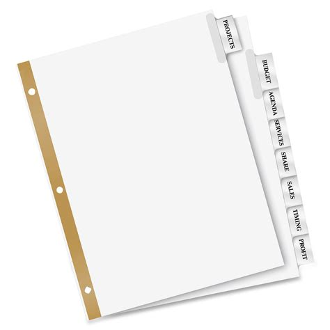 avery divider templates avery big tab insertable dividers 8 tab clear ld products