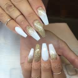 White gold glitter long coffin nails reqmaria nail
