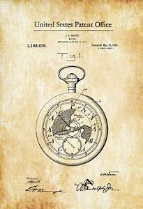 Pocket Watch Patent 1916 – Patent Print, Watch Art, Pocket ...