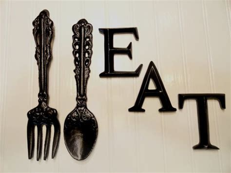 kitchen wall decor black large fork spoon eat word sign