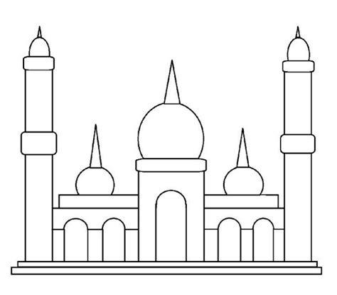 gambar mewarnai masjid yang bagus