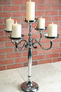 Pillar, Candle, Holder, Candelabra, 5, Arm, 26in, Silver
