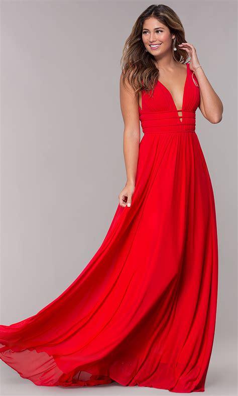 Sleeveless Long Ruched V-Neck Prom Dress - PromGirl
